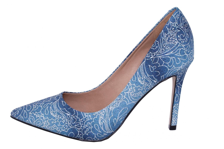 Scarpin Conceito Fashion Tecido Azul Oceano