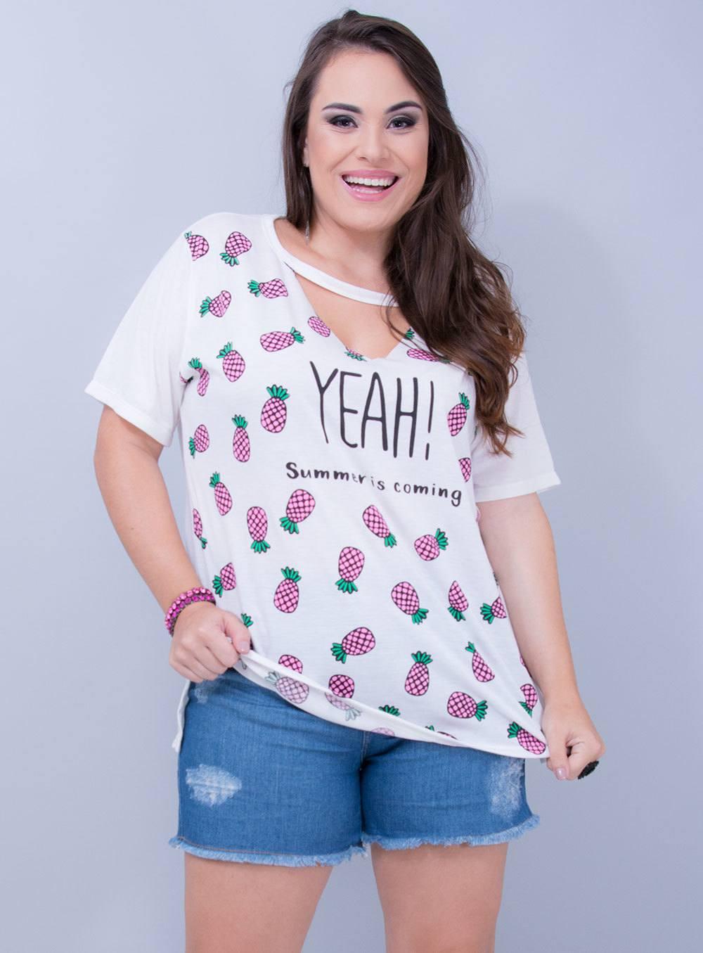 T-shirt em Malha Abacaxi YEAH! Chocker Off White ref. EL10120