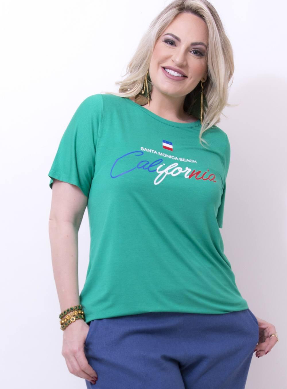 """T-shirt em Malha Estampada com Frase """"Santa Monica Beach California"""" [TS18213]"""