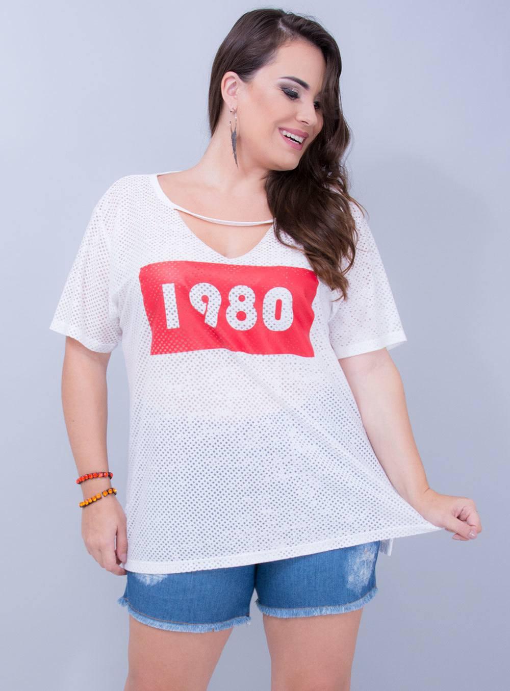 T-shirt em Malha Podrinha 1980 Chocker Branca [EL10149]