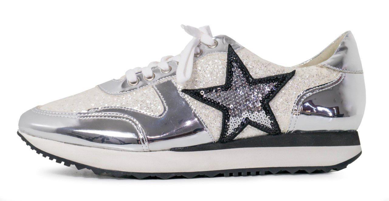 Tênis Conceito Fashion Estrela Glitter Prata