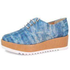 Tênis Conceito Fashion Flatform Jeans Azul Bege
