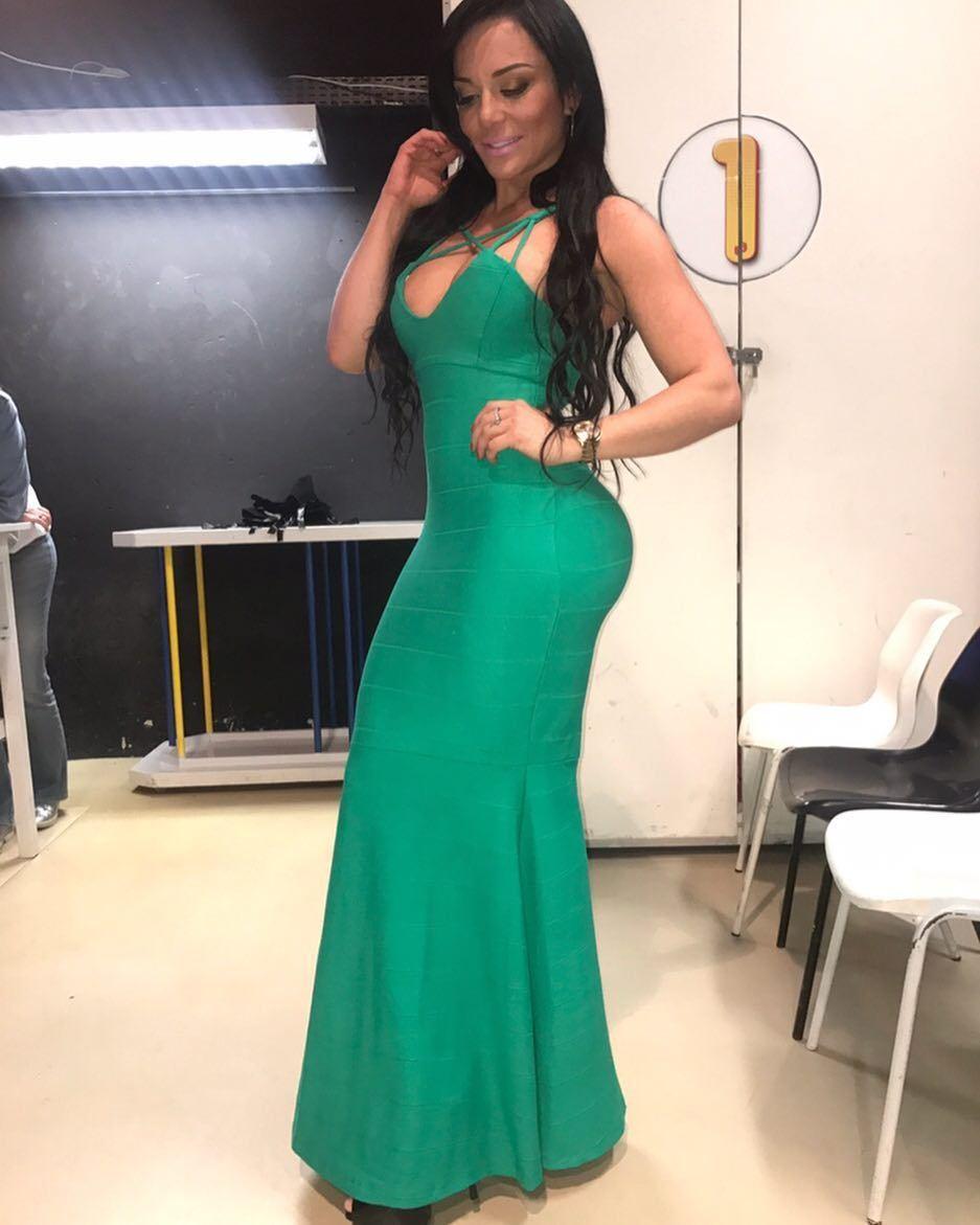 Vestido Longo Alças Transpassadas Verde Esmeralda [RS121]
