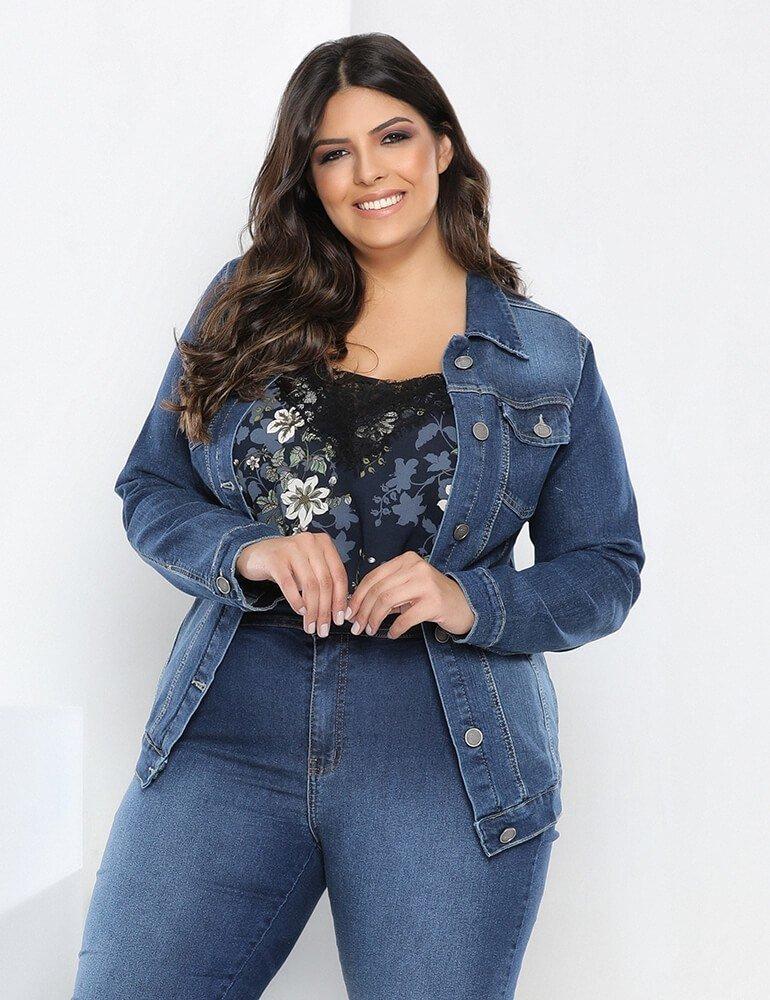 Jaqueta Jeans Feminina Plus Size ref. 03553