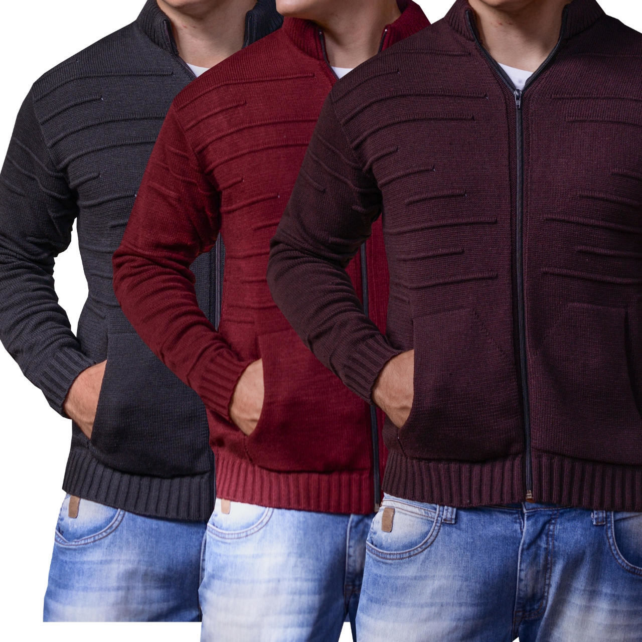 jaqueta térmica kit 3 blusas masculina de trico frio intenso
