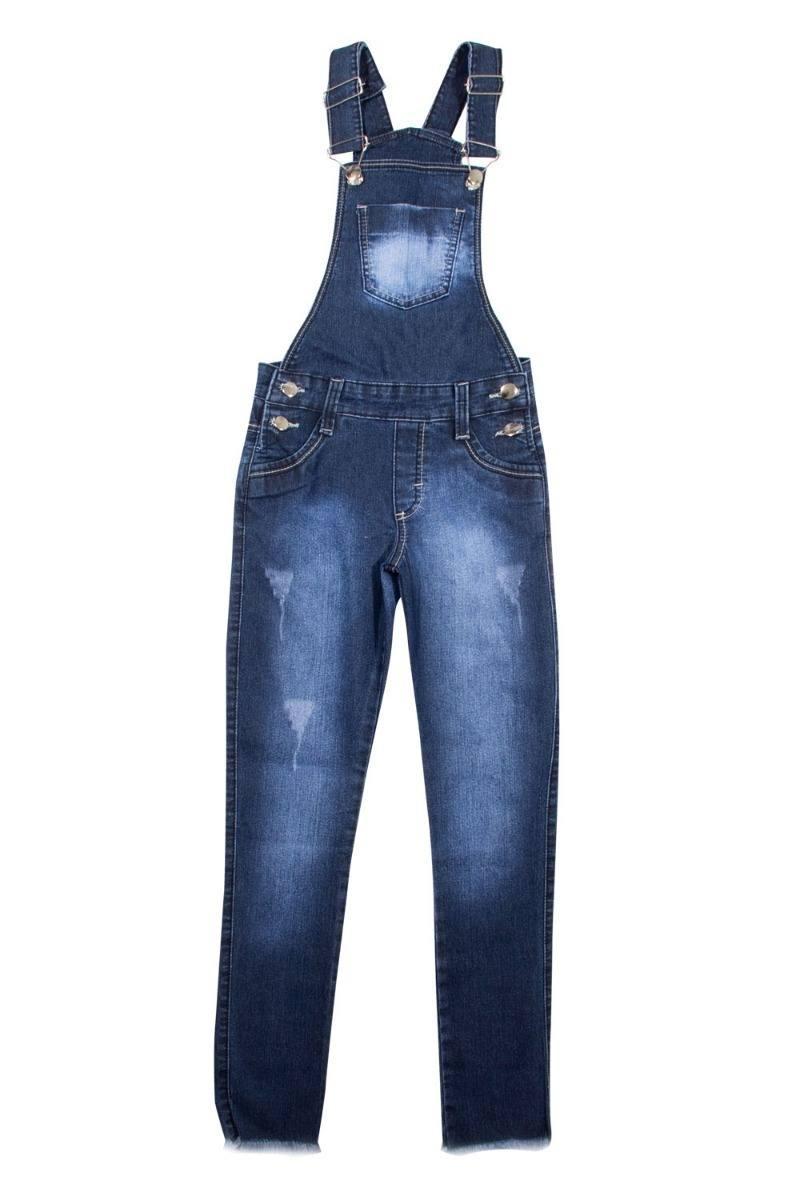 Jardineira Calça Jeans Escuro e Claro Meninas Juvenil Tamanhos 10 ao 16 [Ref 1276]
