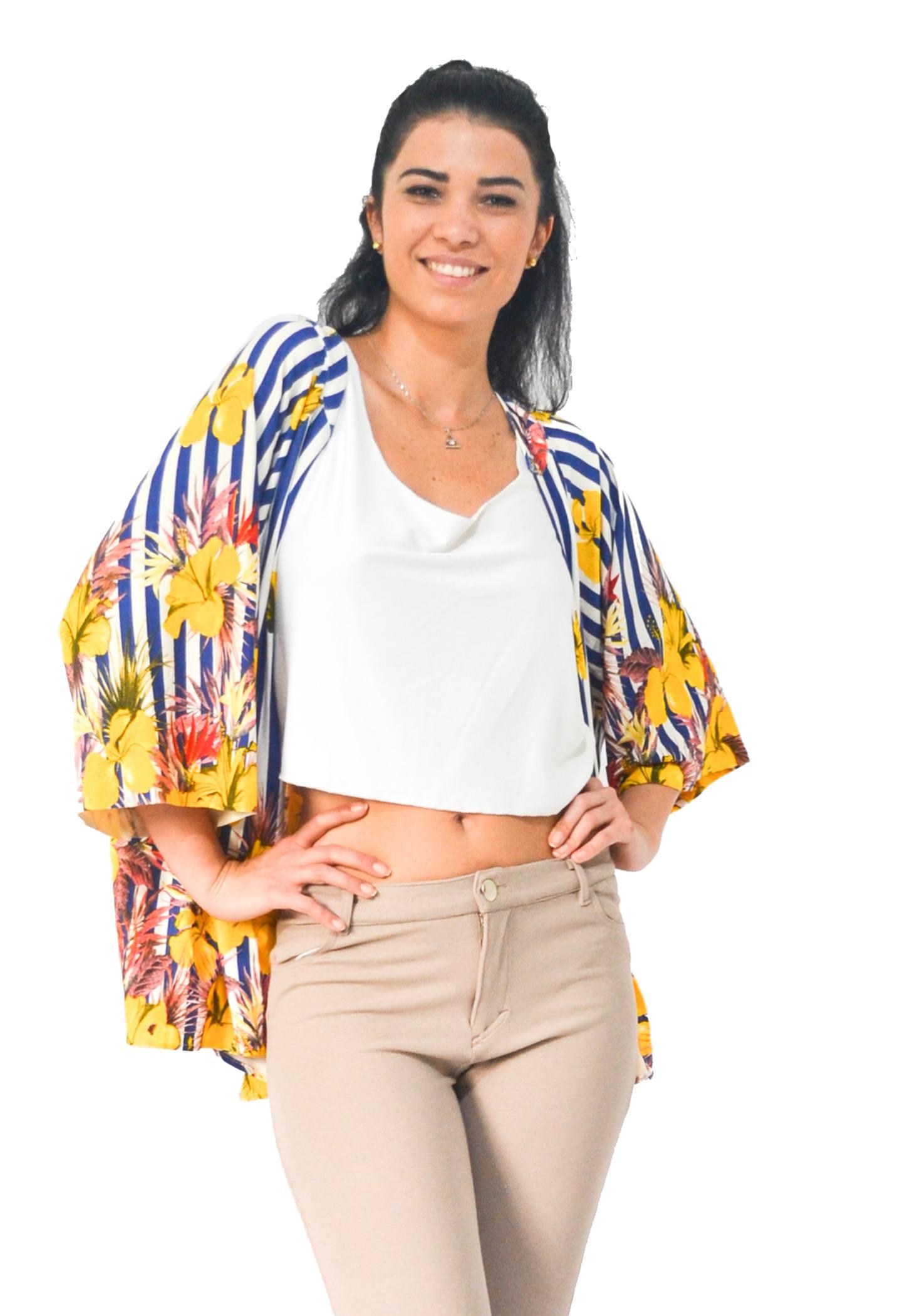 Kimono Hortência Listrado Bluni