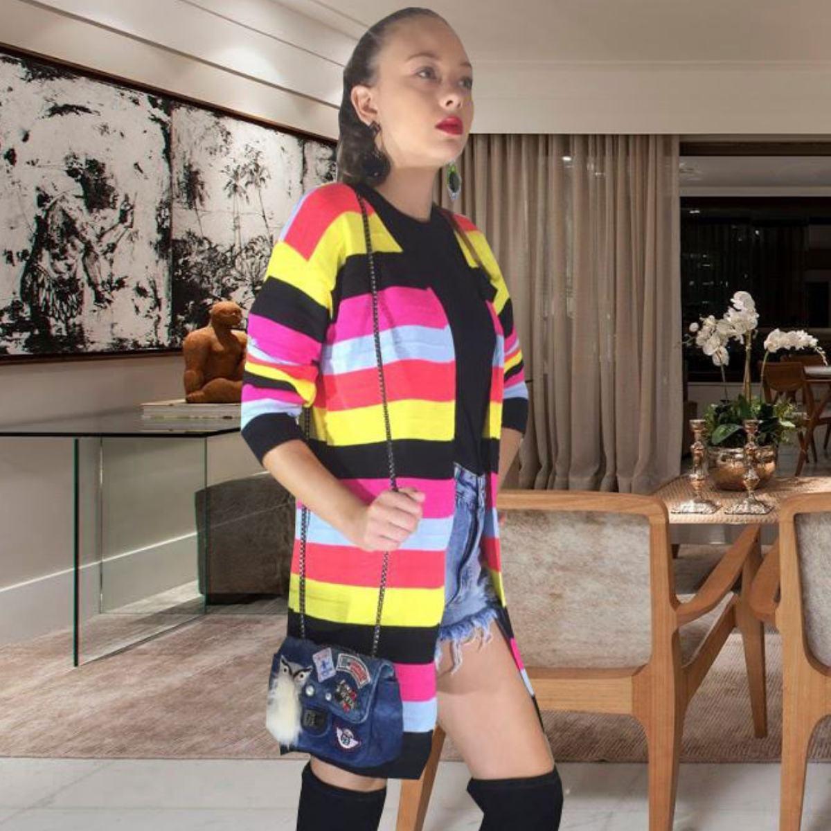 max kimono listrado moda feminina de trico inverno 2019