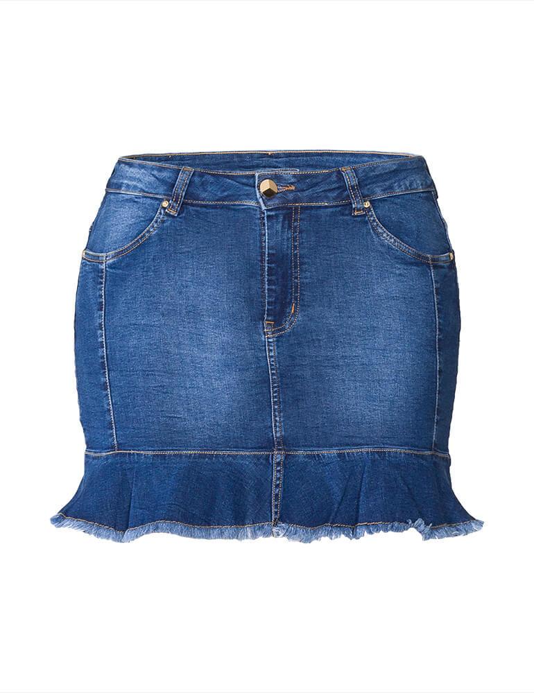 Mini Saia Com Babado Feminina Fact Jeans Plus Size [3736]