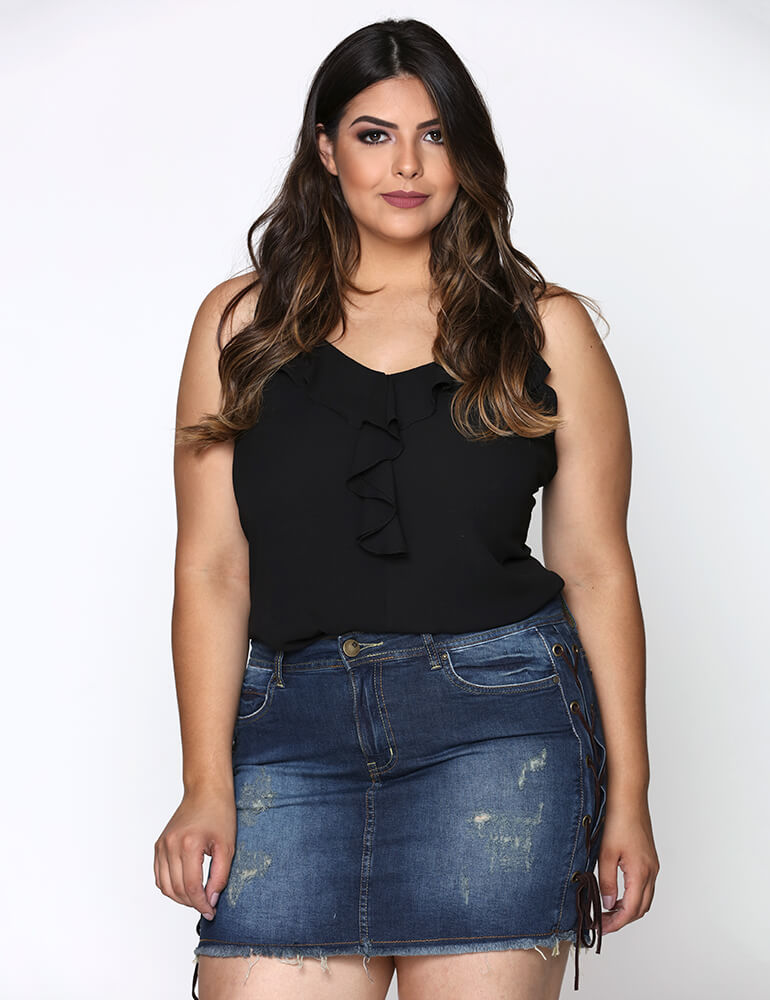 Mini Saia Feminina Fact Jeans Plus Size [2835]