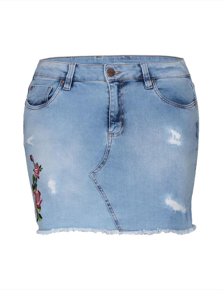 Mini Saia Feminina Fact Jeans Plus Size [3451]