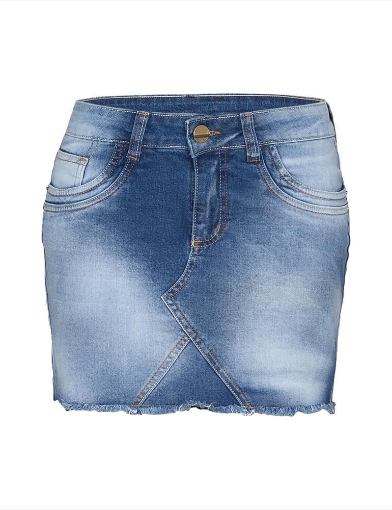 Mini Saia Feminina Fact Jeans Plus Size [3509]