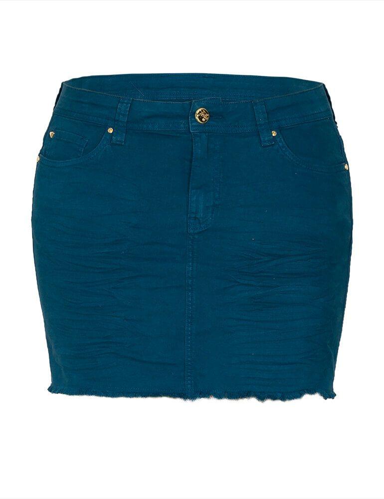 Mini Saia Feminina Fact Jeans Plus Size - Azul [3593]