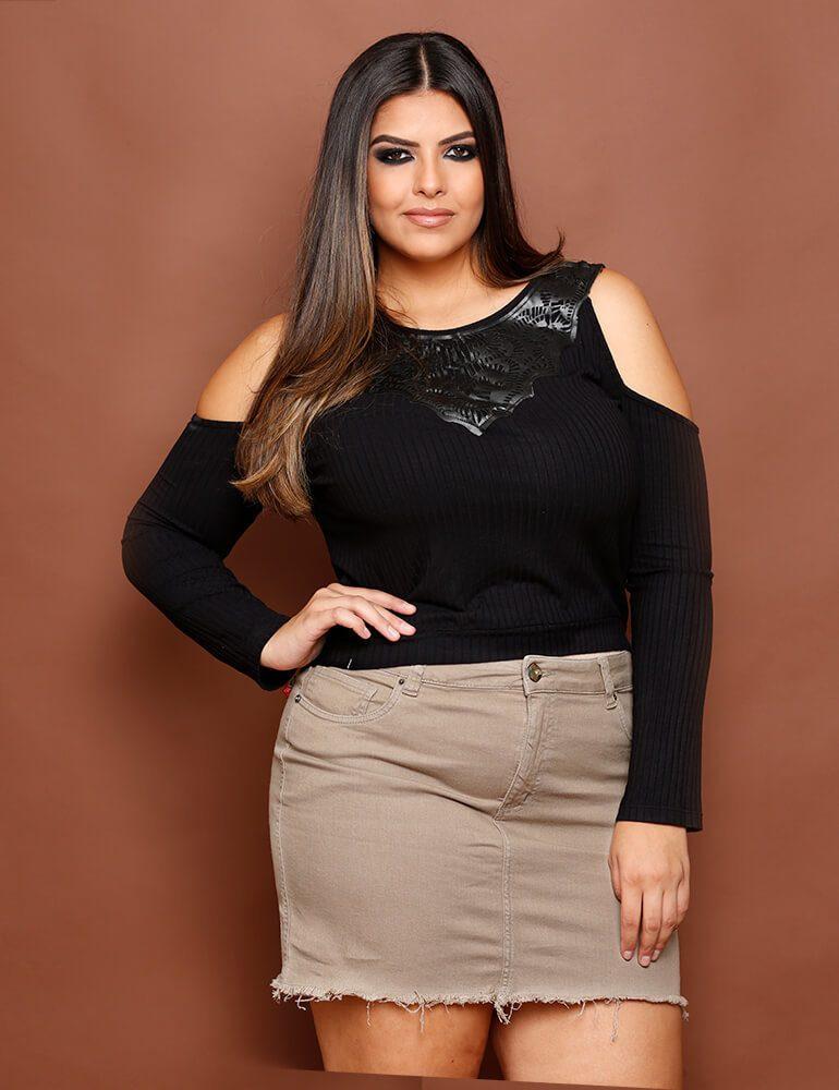 Mini Saia Feminina Fact Jeans Plus Size - Caqui [3014]
