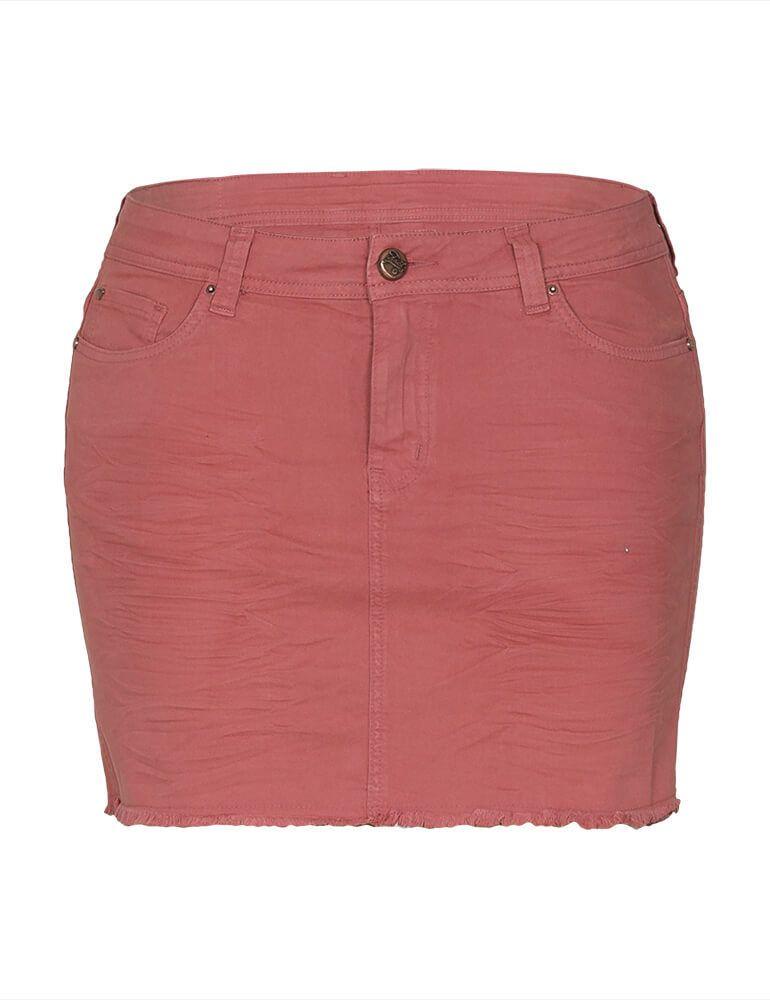 Mini Saia Feminina Fact Jeans Plus Size - Goiaba [3593]