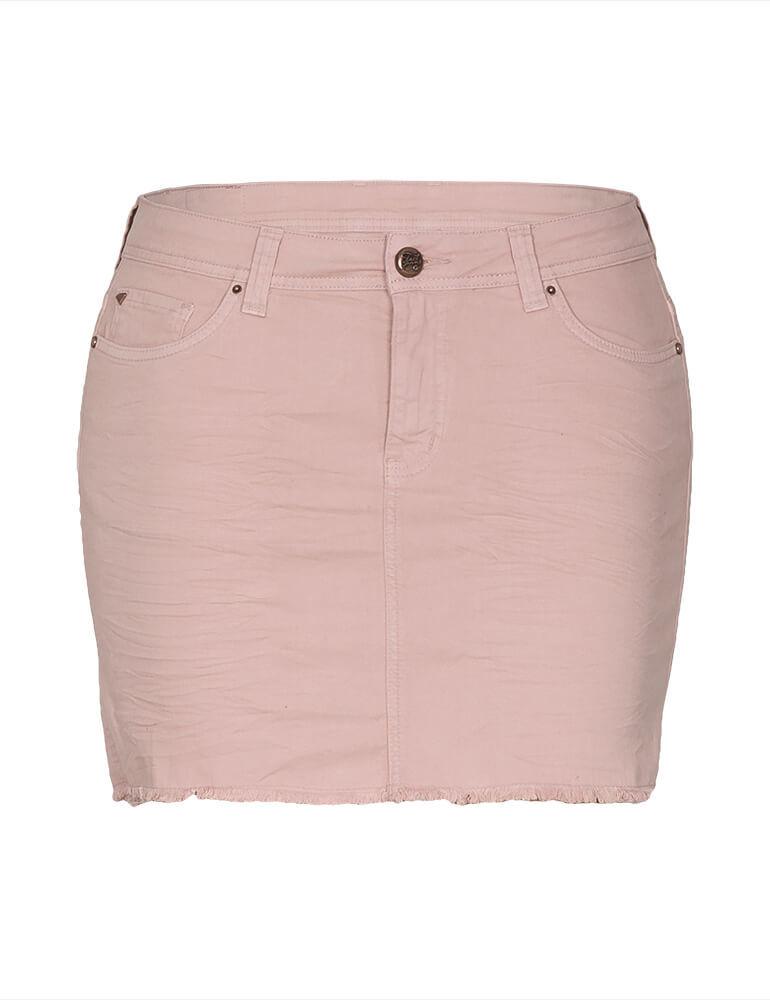 Mini Saia Feminina Fact Jeans Plus Size - Rose [3593]