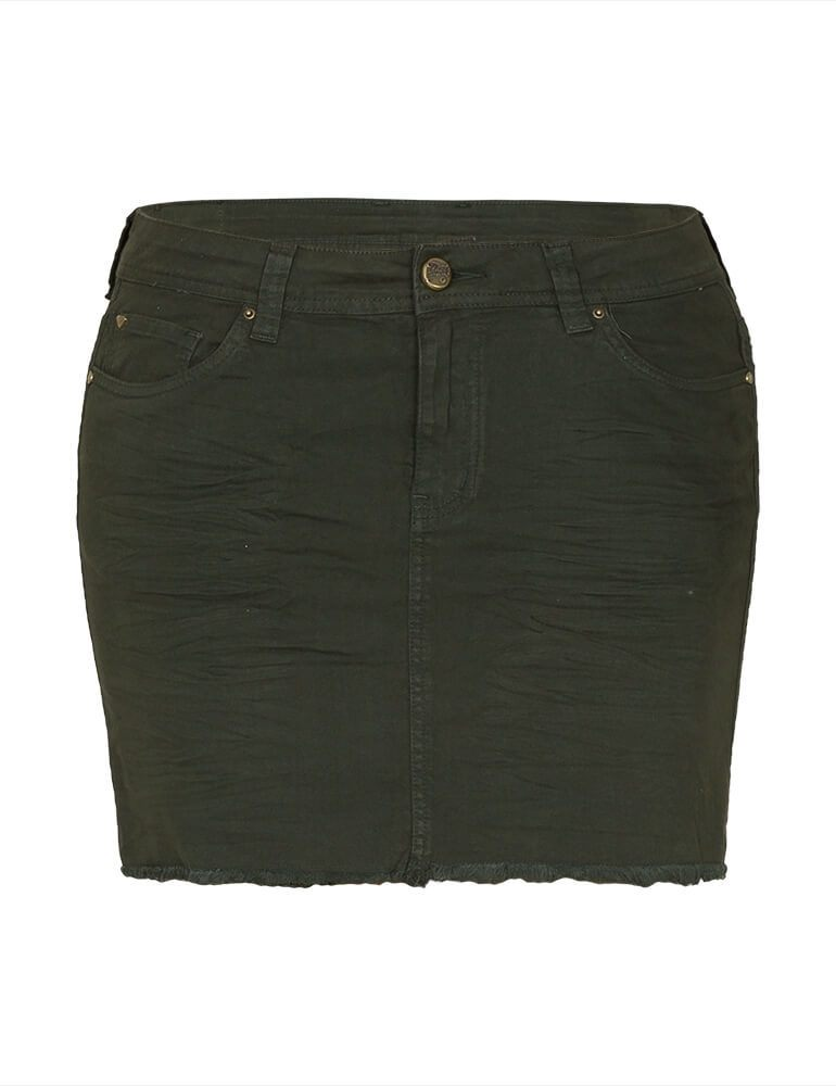 Mini Saia Feminina Fact Jeans Plus Size - Verde [3593]