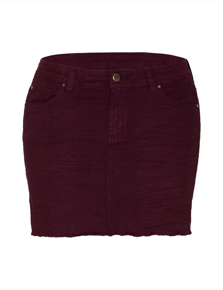 Mini Saia Feminina Fact Jeans Plus Size - Vinho [3593]