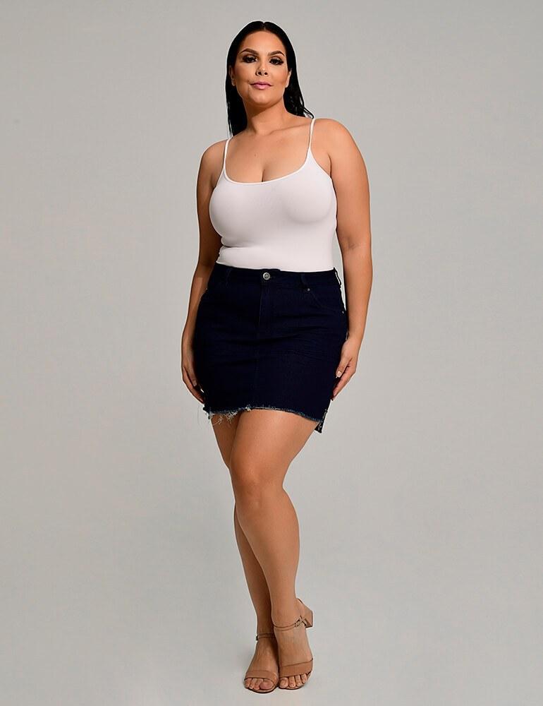 Mini Saia Jeans Fact Jeans Plus Size ref. 03748