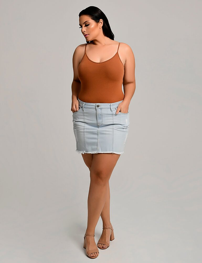Mini Saia Jeans Fact Jeans Plus Size ref. 03900
