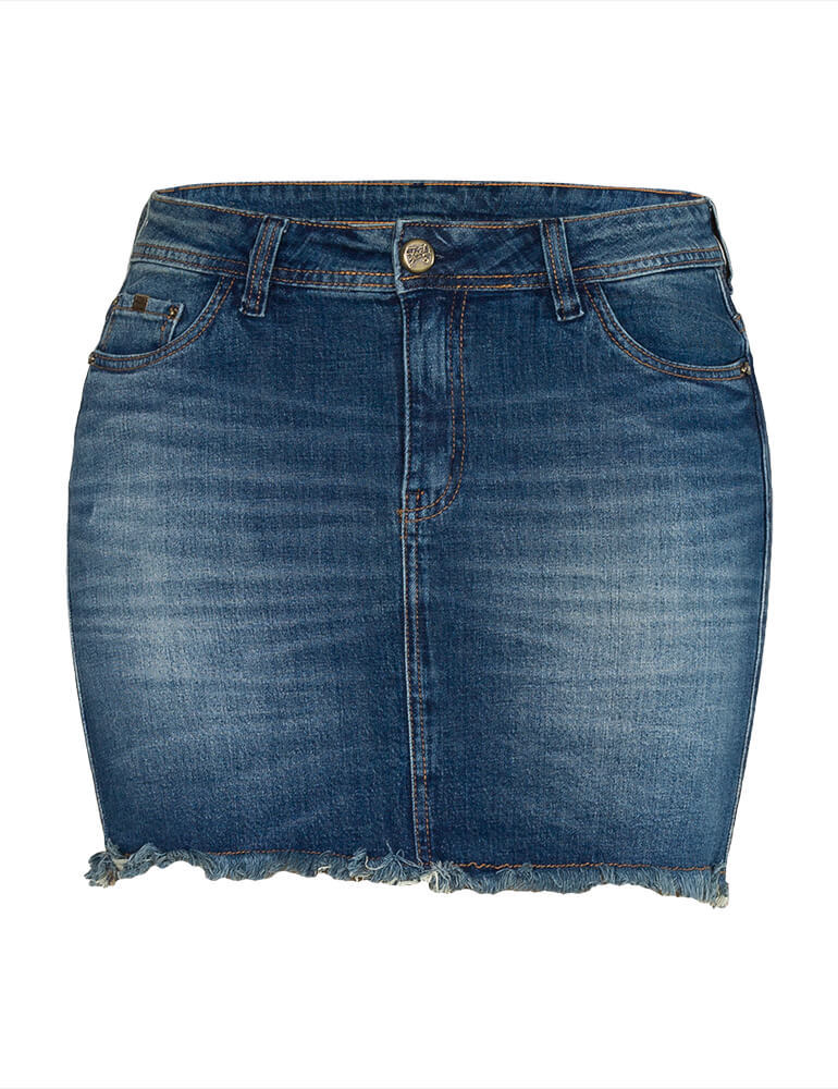 MIni Saia Jeans Feminina Fact Jeans ref. 03577 - Plus Size