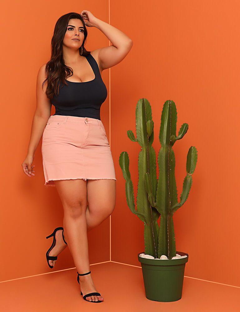Mini Saia Sarja Colorida Fact Jeans ref. 03917 - Plus Size