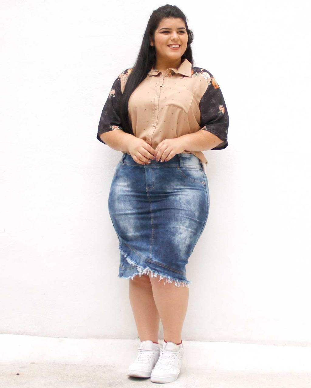 Saia Jeans Anastacia Plus Size ref. 4557009