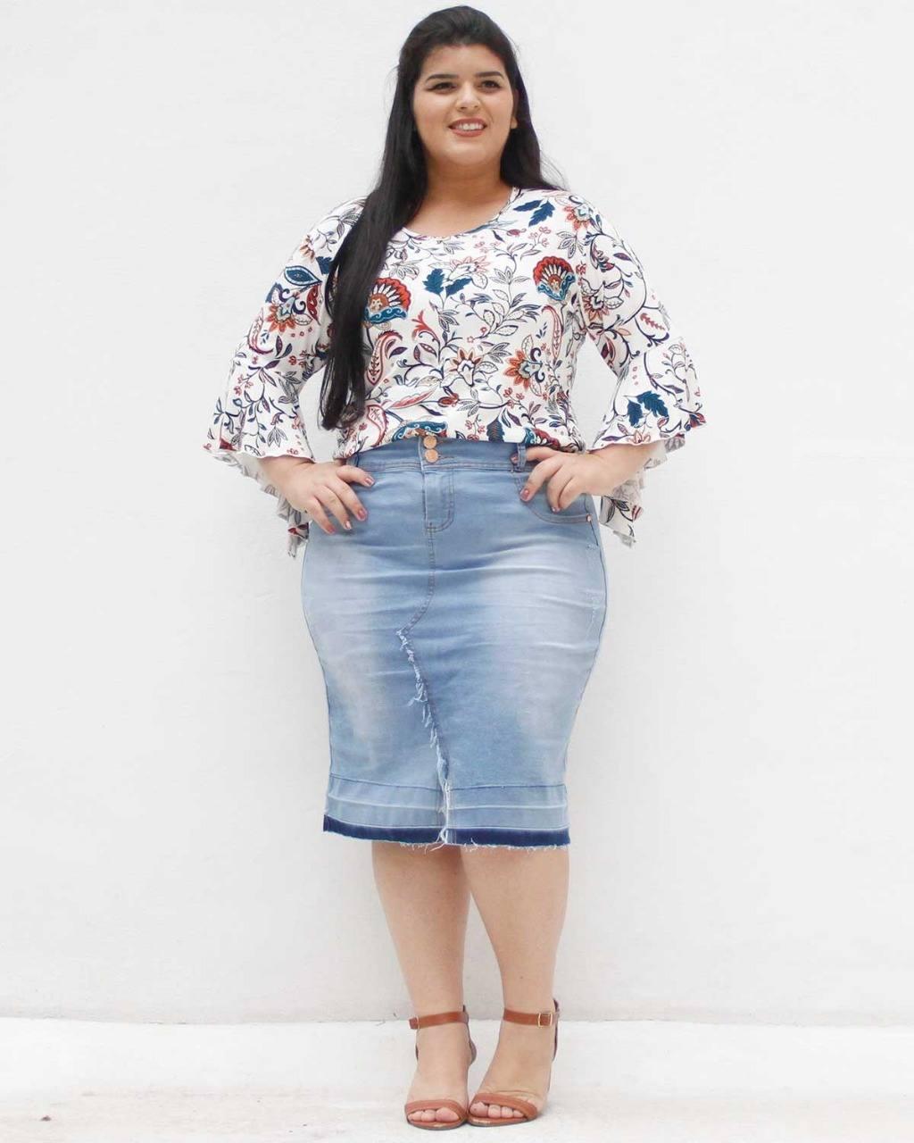 Saia Jeans Heloa Plus Size [4557610]