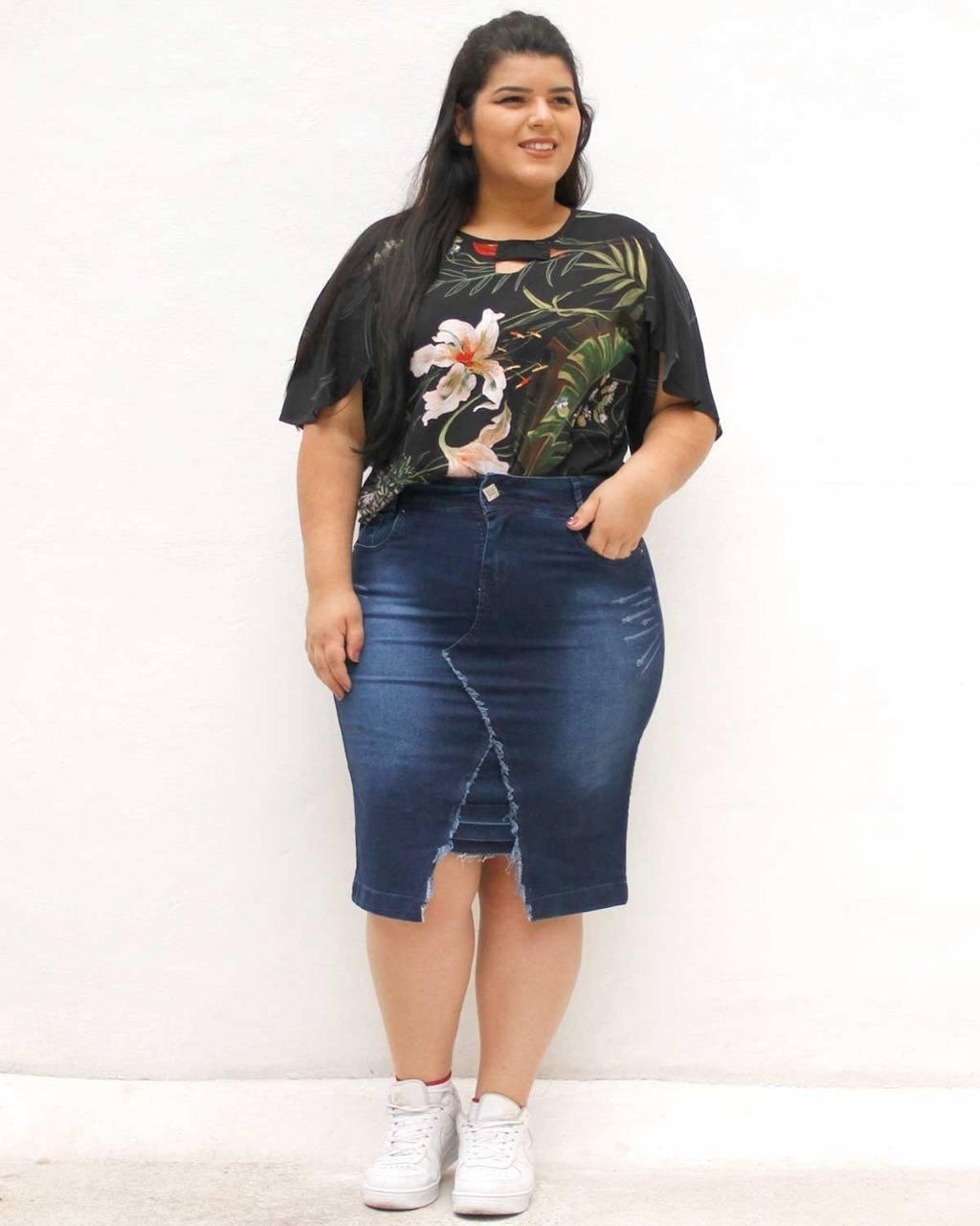 Saia Jeans Jordania Plus Size ref. 4557410