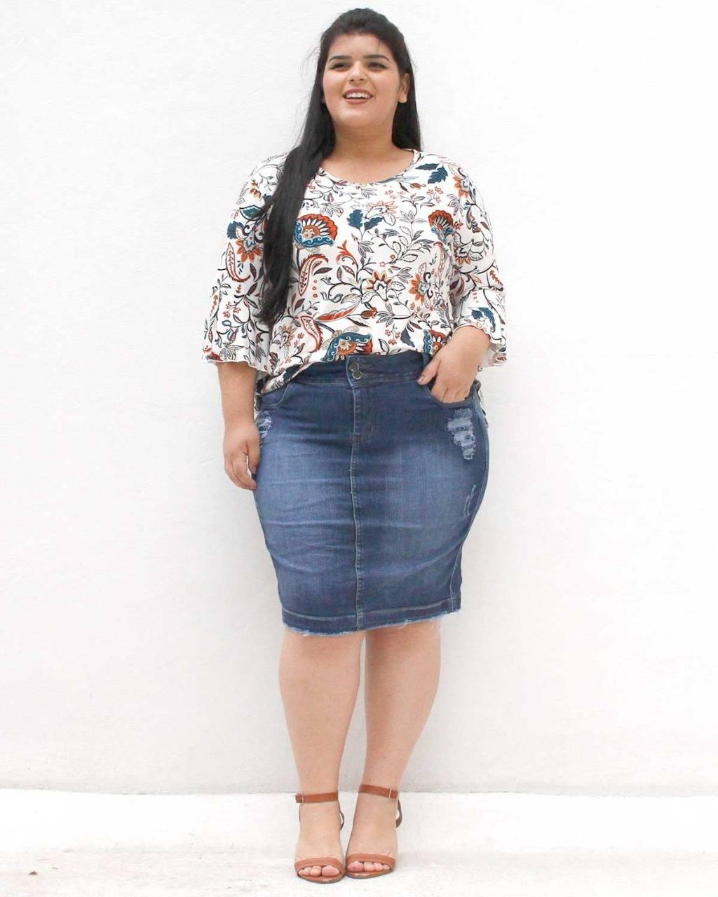 Saia Jeans Laureta Plus Size ref. 455721144