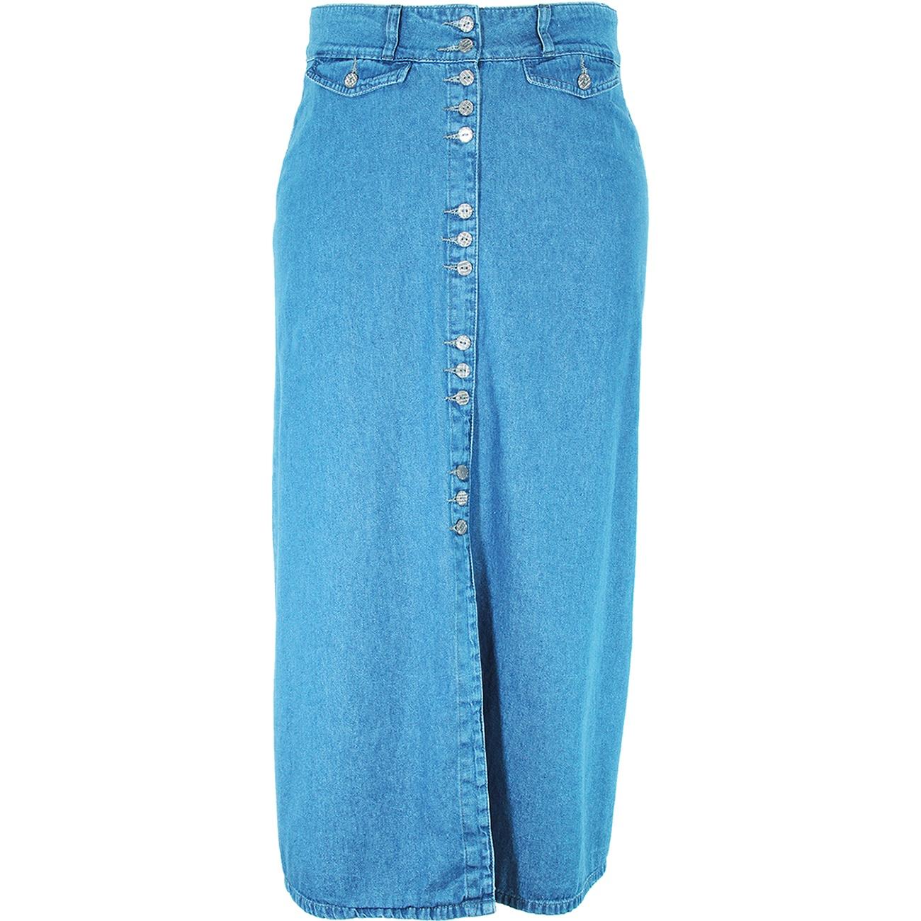Saia Longa Eruption Jeans Botões [7801DEL]