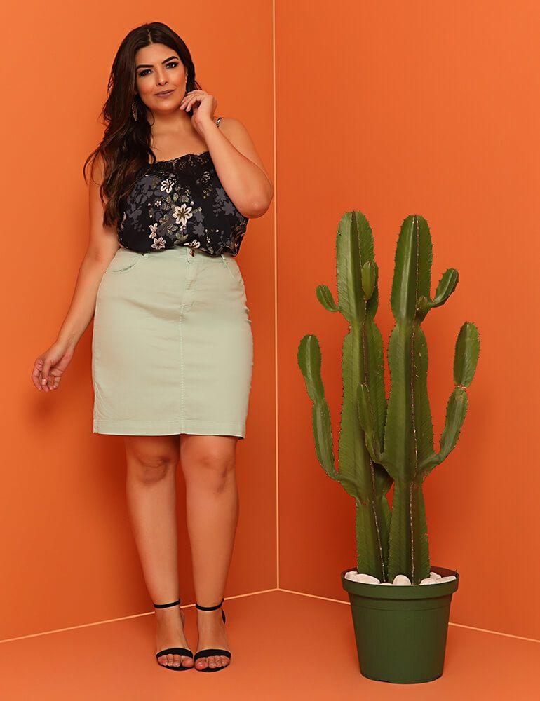 Saia Sarja Secretária Feminina Fact Jeans ref. 03919  - Plus Size