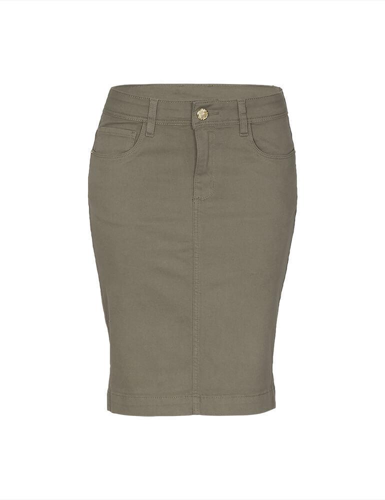 Saia Secretária Feminina Fact Jeans ref. 03673 - Caqui