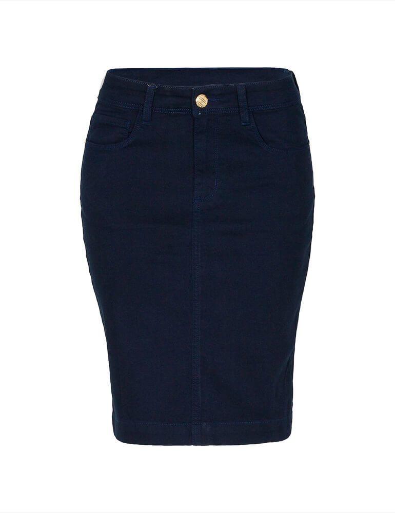 Saia Secretária Feminina Fact Jeans ref. 03673 - Marinho