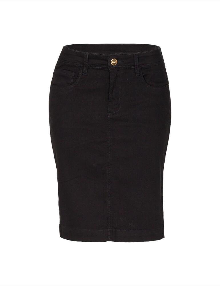 Saia Secretária Feminina Fact Jeans ref. 03673 - Preto