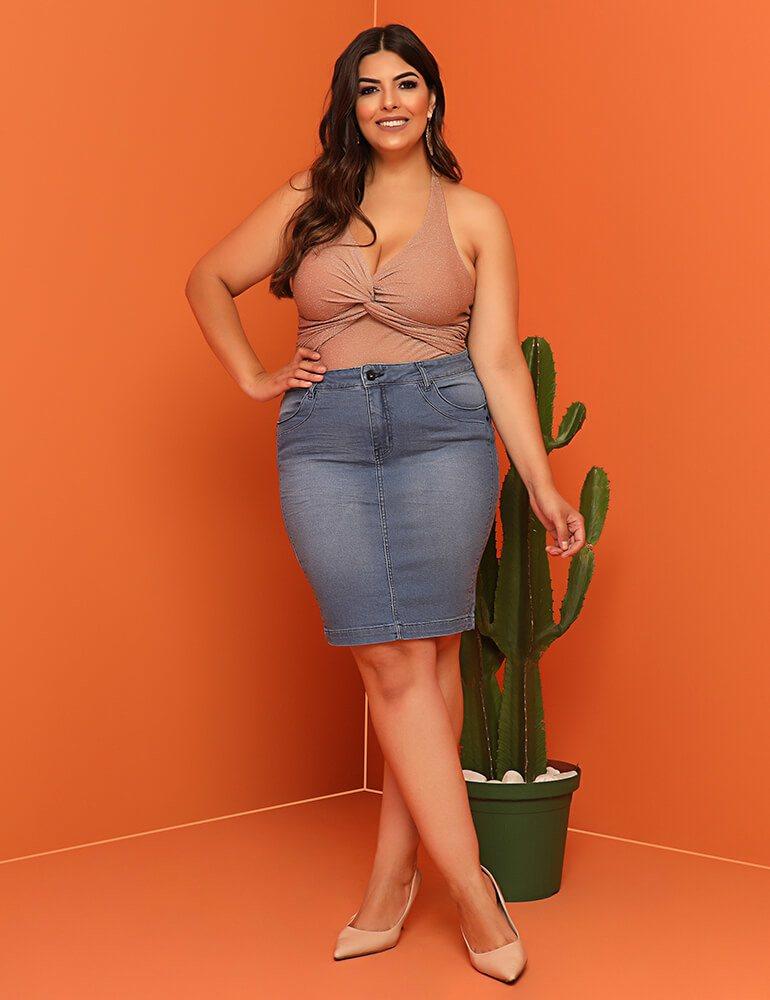 Saia Secretária Jeans Feminina Fact Jeans ref. 03873 - Plus Size