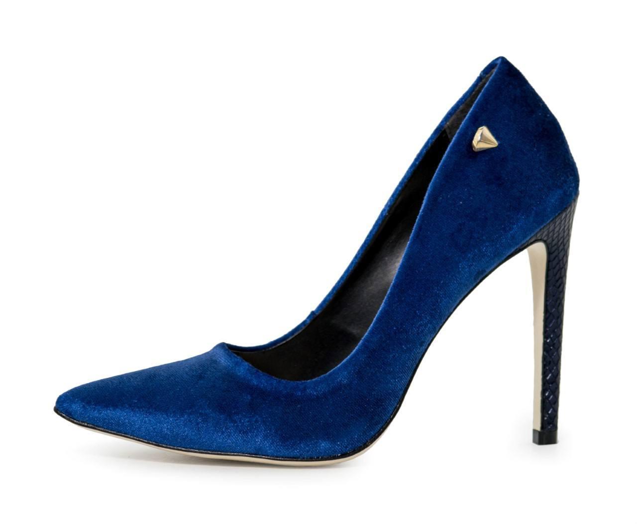 Scarpin Veludo Azul Anil