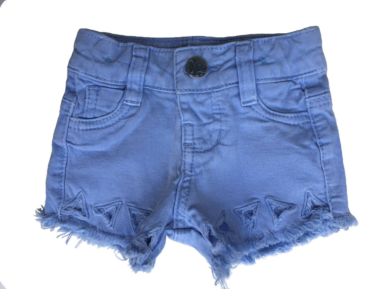Short Jeans bebê menina com barra de triângulos vazados [697]