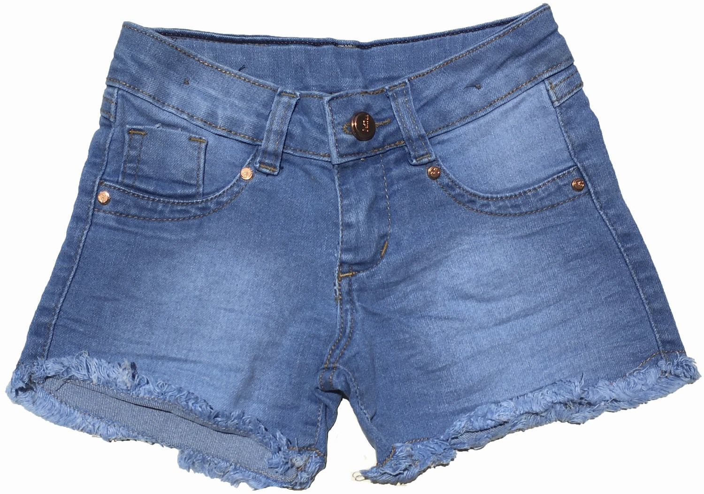 Shorts jeans com barra desfiada Infantil [402]