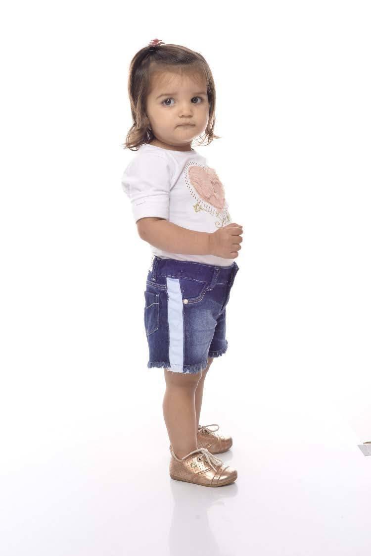 Short Jeans menina com faixa azul clara nas laterais [009]