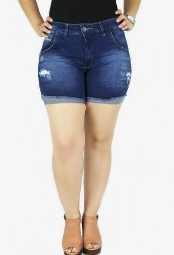 Shorts Dinho`s Jeans Feminino Meia Coxa Lívia Stone ref. 2480