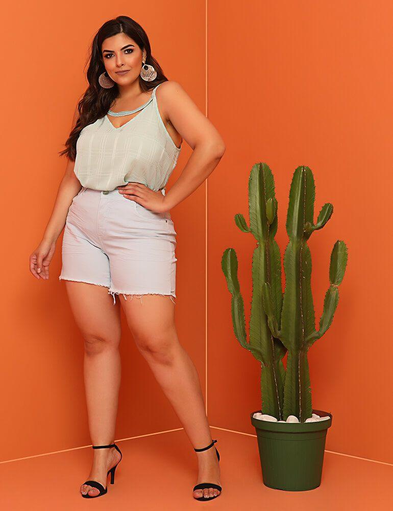 Shorts Feminino Fact Jeans Plus Size [03918] - Azul Céu