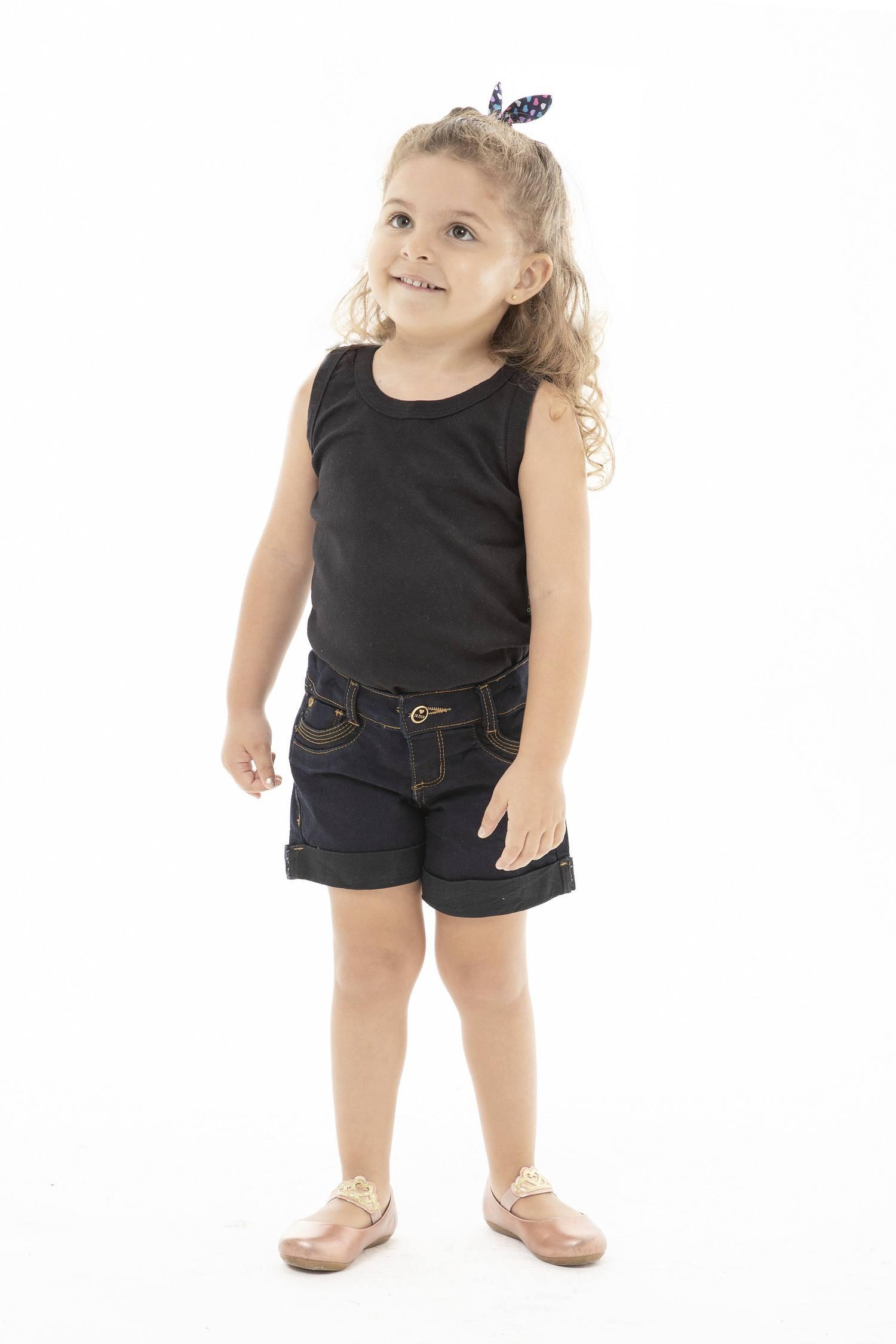 Shorts Jeans Menina Índigo Barras Dobradas [012]