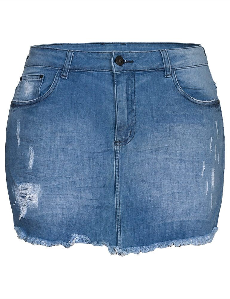 Shorts Saia Jeans Feminino Fact Jeans ref. 03942 - Plus Size