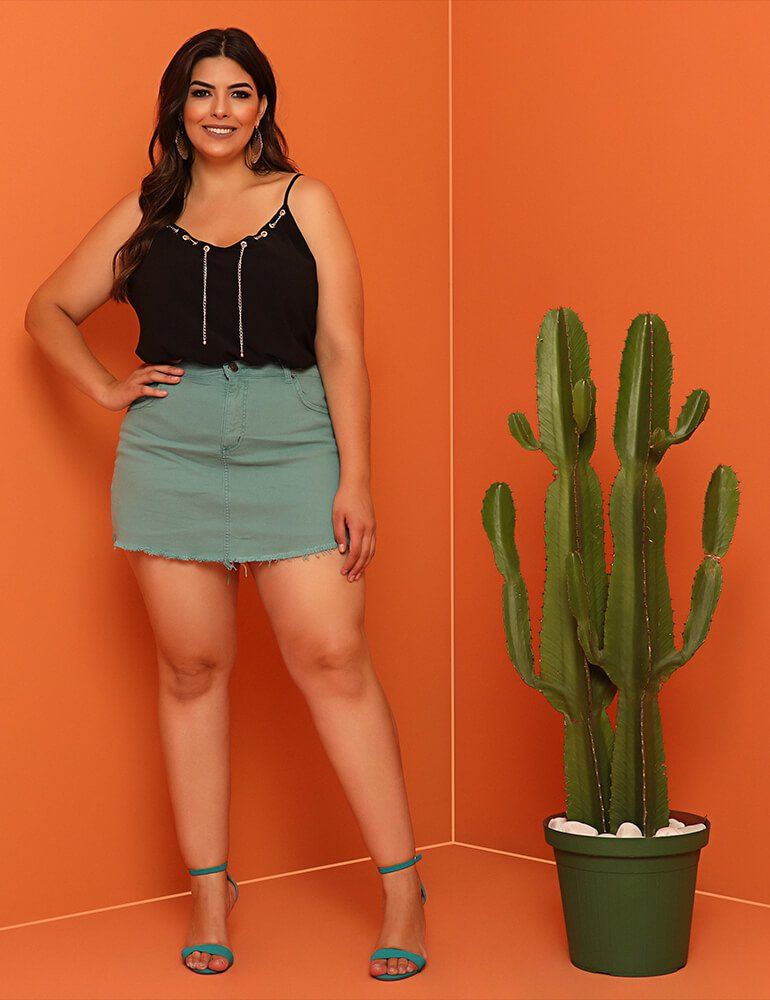 Shorts Saia Sarja Feminino Fact Jeans ref. 03916 - Plus Size