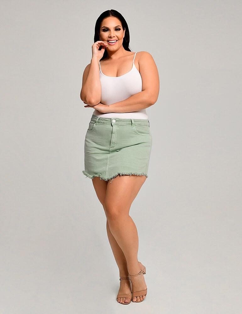 Shorts Saia Sarja Feminino Fact Jeans ref. 03996 - Plus Size