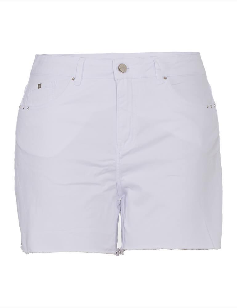Shorts Sarja Feminino Fact Jeans Branca ref. 03935 - Plus Size