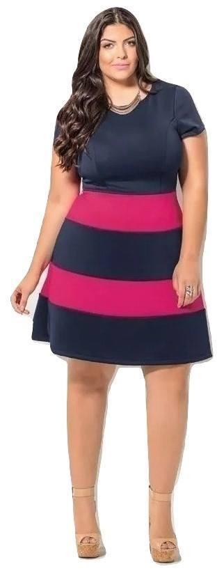 Vestido Plus Size Rodado Bicolor