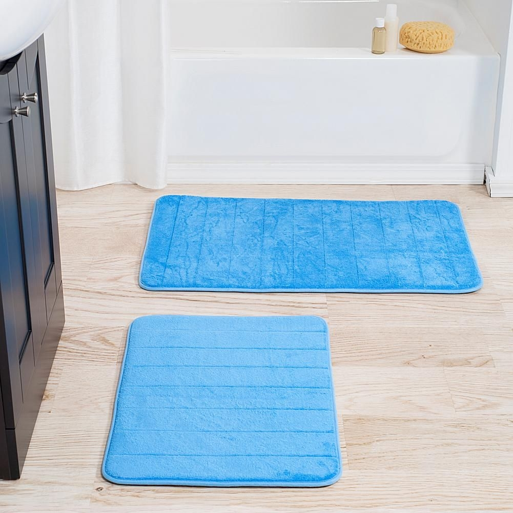Blue Striped Bath Mat Set