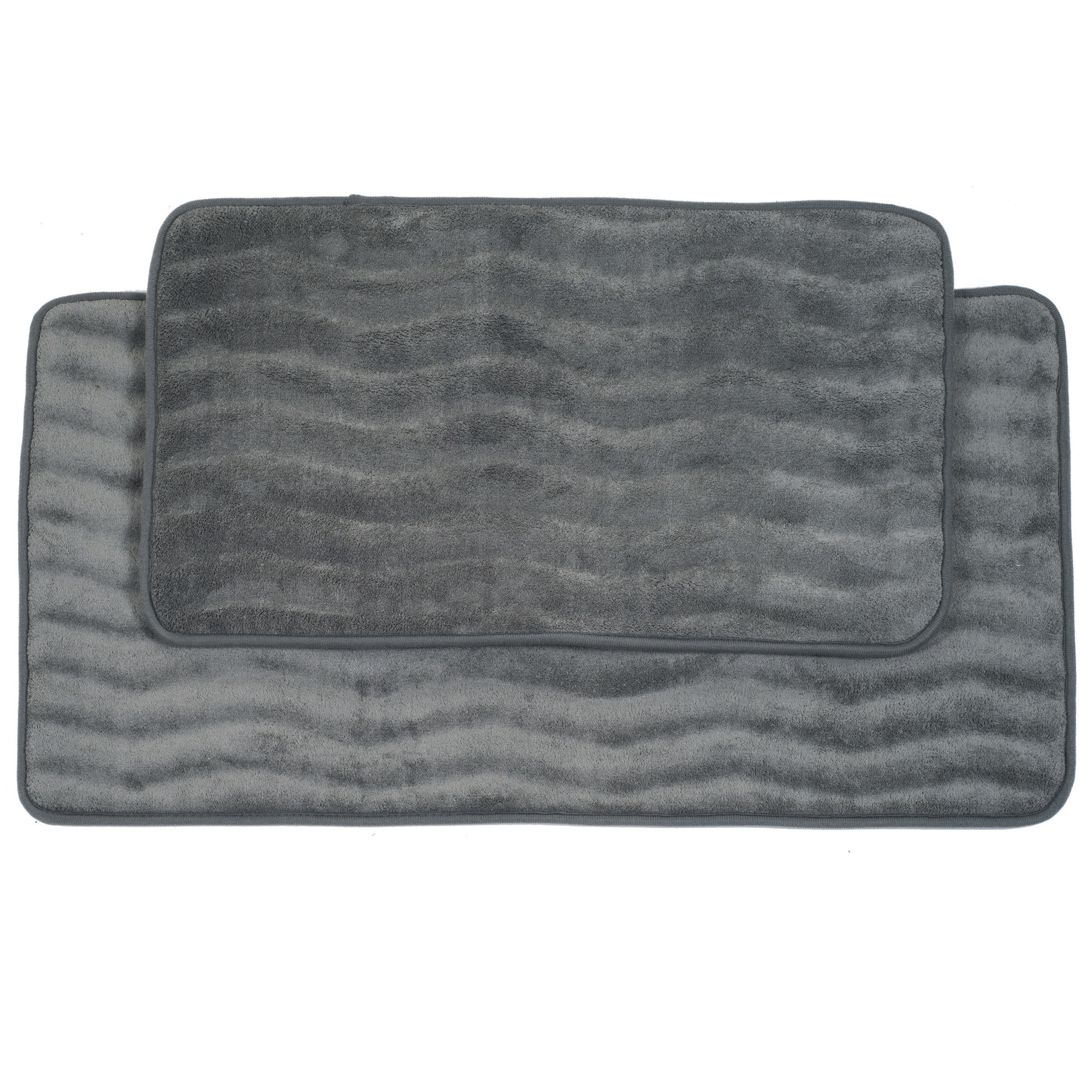 Grey Memory Foam Bath Mat Set